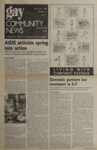 Front page of Gay Community News Vol 16 No 43 May 21-27, 1989