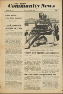 Front page of East Boston Community News Vol 1 No 12, 1971 Feb 5